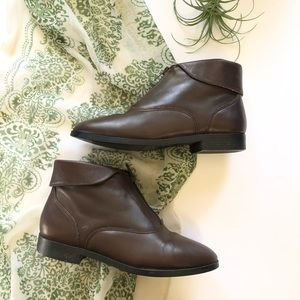Vtg Prima Royale Zip Ankle Booties Fold Over Boots